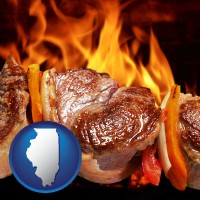 illinois meat on a hot barbecue grill
