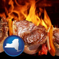 new-york map icon and meat on a hot barbecue grill