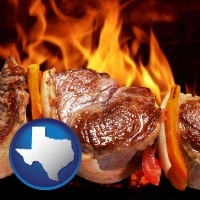 texas meat on a hot barbecue grill