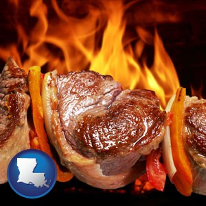 meat on a hot barbecue grill - with Louisiana icon